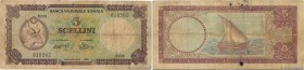 Country : SOMALIA  Face Value : 5 Scellini  Date : 1971  Period/Province/Bank : Banca Nazionale Somala  Catalogue reference : P.13a  Alphabet - signat...