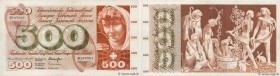 Country : SWITZERLAND  Face Value : 500 Francs  Date : 07 mars 1973  Period/Province/Bank : Banque Nationale Suisse  Catalogue reference : P.51k  Alph...