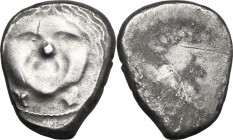 Greek Italy. Etruria, Populonia. AR 20-Asses, 3rd century BC. D/ Facing head of Metus, hair bound with diadem; below, XX. R/ Blank. Vecchi EC I, 47; H...