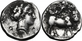 Greek Italy. Central and Southern Campania, Neapolis. AR Fourrée (?) Didrachm, c. 300-275 BC. D/ Diademed head of nymph right; behind, Artemis running...