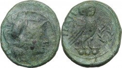 Greek Italy. Northern Apulia, Teate. AE Teruncius, c. 225-200 BC. D/ Helmeted head of Athena right. R/ TIATI. Owl standing right, head facing, on palm...