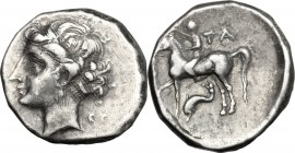 "Greek Italy. Southern Apulia, ""Campano-Tarentine"". AR Nomos, c. 281-228 BC. D/ Diademed head of the nymph Satyra left; behind EY. R/ Naked horseman le..."