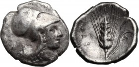 Greek Italy. Southern Lucania, Metapontum. AR Diobol, c. 325-275. D/ Helmeted head of Athena right. R/ META. Grain ear with leaf to right; cornucopiae...