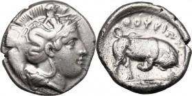 Greek Italy. Southern Lucania, Thurium. AR Stater, circa 400-350 BC. D/ Head of Athena right, wearing Attic helmet decorated with Skylla holding oar(?...