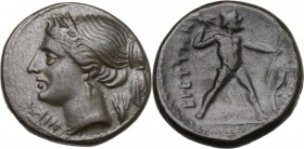Greek Italy. Bruttium, Brettii. AE Half Unit, circa 214-211 BC. D/ ΝΙΚΑ. Diademed head of Nike left; grain ear to right. R/ ΒΡΕΤΤΙΩΝ. Zeus standing ri...