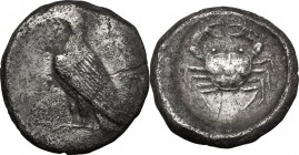 Sicily. Akragas. AR Didrachm, c. 500-495 BC. D/ Sea eagle standing left; traces of ethnic behind. R/ Crab within incuse circle. Jenkins, Gela, Group I...