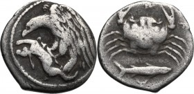 Sicily. Akragas. AR Hemidrachm, c. 420-406 BC. D/ Eagle standing left on, and learing at, hare. R/ Crab; below, fish right. SNG ANS 1003; HGC 2, 104. ...