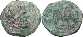 Sicily. Akragas. AE 22 mm. 213-210 BC. D/ Laureate head of Zeus right. R/ Eagle standing facing, head right, wings spread, on thunderbolt. CNS 145; HG...