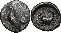 Sicily. Himera. AR Drachm, 480-470 BC. D/ Cock standing left. R/ Crab; HIME[ ] below; all in concave incuse. Westermark, Himera 115; SNG ANS 153-4; SN...