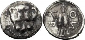 Sicily. Leontini. AR Obol, c. 485-466 BC. D/ Facing lion's scalp. R/ ΛE/ON retrograde. Barley grain. Cf. SNG ANS 213 var. (spacing of ethnic). AR. g. ...