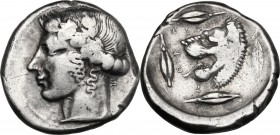 Sicily. Leontini. AR Tetradrachm, c. 440-430 BC. D/ Head of Apollo left, wearing laurel wreath. ΛΕΟΝ-[ΤΙ]-Ν-ΟΝ. R/ Head of roaring lion left; three ba...
