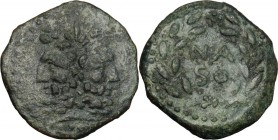 Sicily. Panormos, under Roman rule. AE As, after 241 BC. D/ Laureate and bearded head of Janus; I above. R/ NA/SO in two lines within laurel-wreath; s...