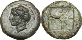 Sicily. Syracuse. AE 18 mm. c. 415 BC. D/ Female head left. R/ Incuse square with incuse circle at centre, in which star of sixteen rays. CNS 18; SNG ...