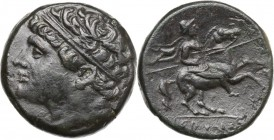 Sicily. Syracuse. Hieron II (275-215 BC). AE 27 mm, c. 230-218/5 BC. D/ Head of Hieron left, diademed; behind, illegible symbol (wing?). R/ Horseman r...