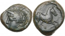 Punic Sicily. Uncertain mint. AE 16 mm. c. 400-350 BC. D/ Wreathed head of female left, wearing earring. R/ Horse prancing right. MAA 15; SNG Cop. 94-...
