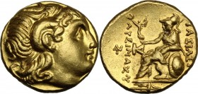 Continental Greece. Kings of Thrace. Lysimachos (305-281 BC). AV Stater. D/ Diademed head of defied Alexander the great right, with horn of Ammon. R/ ...