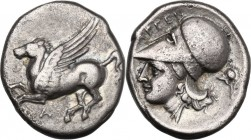 Continental Greece. Akarnania, Argos Amphilochicum. AR Stater, circa 350-270 BC. D/ Pegasos flying left; A below. R/ ΑΡΓΕΙ. Helmeted head of Athena le...