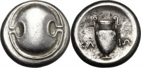 Continental Greece. Boeotia, Thebes. AR Stater, c. 395-338 BC. D/ Boetian shield. R/ Amphora. KL - IΩ across field. BMC 154; SNG Cop. 343; BCD 5...