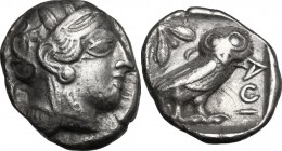 Continental Greece. Attica, Athens. AR Tetradrachm, 479-393 BC. D/ Head of Athena right, helmeted, with frontal eye. R/ AOI. Owl standing right, head ...