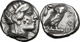 Africa. Egypt. AR Tetradrachm, c. 5th-4th century BC. Eastern imitation, Egyptian (?). D/ Head of Athena right, helmeted, with frontal eye; on cheek, ...