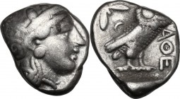 Continental Greece. Attica, Athens. AR Tetradrachm, c. 350 BC. D/ Head of Athena right, helmeted, with profile eye. R/ Owl standing right, head facing...