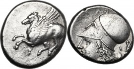 Continental Greece. Corinthia, Corinth. AR Stater, circa 375-300 BC. D/ Pegasos flying left; koppa below. R/ Helmeted head of Athena left; [Δ]-I flank...