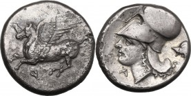 Continental Greece. Corinthia, Corinth. AR Stater, circa 350/45-285 BC. D/ Pegasos flying left; koppa below. R/ Helmeted head of Athena left; A below ...