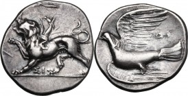 Continental Greece. Sikyonia, Sikyon. AR Hemidrachm, circa 400-323 BC. (2.79 gm). D/ Chimaera standing left, paw raised; ΣI below. R/ Dove flying left...