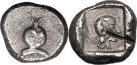 Greek Asia. Pamphylia, Side. AR Stater, c. 479-460 BC. D/ Pomegranade; below, dolphin left. R/ Helmeted head of Athena right within incuse square. SNG...