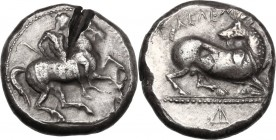 Greek Asia. Cilicia, Kelenderis. AR Stater, c. 410-375 BC. D/ Nude youth, holding whip, dismounting from horse rearing right. R/ ΚΕ&Lamb...