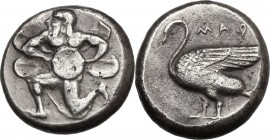 Greek Asia. Cilicia, Mallos. AR Stater, c. 440-390 BC. D/ Winged male figure running left, holding solar disk with both hands. R/ MAP. Swan standing l...