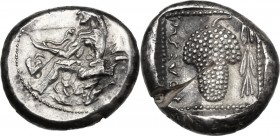 Greek Asia. Cilicia, Soloi. AR Stater, c. 440-410 BC. D/ Amazon kneeling left, quiver and bowcase at her side, holding bow; ivy leaf to left, helmet t...