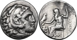 Greek Asia. Syria, Seleucid Kings. Seleukos I Nikator (312-281 BC). AR Drachm. Lampsacus mint, 310-301 BC. D/ Head of young Herakles right, wearing li...
