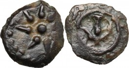 Greek Asia. Judaea, Jerusalem. Alexander Jannaeus (103-76 BC). AE Lepton. D/ Star. R/ Anchor. Hendin 469. AE. g. 0.82 mm. 11.00 About VF. These coin i...