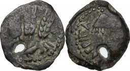 Greek Asia. Judaea. Agrippa I (37-44). AE Prutah, year 6 (41/42). Jerusalem mint. D/ Umbrella-like canopy with fringes. R/ 'Year 6'. Three ears of bar...