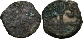 Greek Asia. Judaea. Pontius Pilatus (26-36 AD). AE Prutah in the name of Tiberius, Jerusalem mint. D/ LIZ within wreath. R/ TIBЄPIOY KAICAPOC. Lituus....