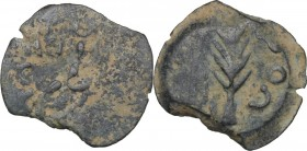 Greek Asia. Judaea. Porcius Festus, Procurator. AE Prutah in the name of Nero, 58-59 AD, Jerusalem mint. D/ NЄP/ωNO/C in three lines within wreath. R/...