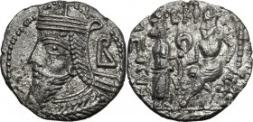 Greek Asia. Parthia. Vologases IV (147-191 AD). BI Tetradrachm, Seleukeia on the Tigris mint. D/ Diademed bust left, wearing tiara; behind, B. R/ Tych...