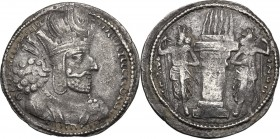 Greek Asia. Sasanian kings of Persia. Shapur I (241-272 AD). AR Drachm. D/ Bust right, wearing mural crown with korymbos and earflaps. R/ Fire altar; ...