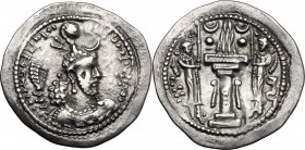Greek Asia. Sasanian kings of Persia. Yazdgird (Yazdgard) I (399-420 AD). AR Drachm. D/ Bust right on floral ornament, wearing mural crown with fronta...