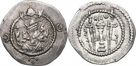 Greek Asia. Sasanian kings of Persia. Kavad I, 2nd reign (499-531). AR Drachm, dated year 36. Mint HL. D/ Bust right, wearing mural crown with frontal...