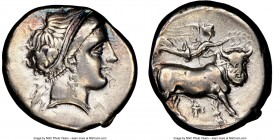 CAMPANIA. Neapolis. Ca. 330-270 BC. AR didrachm or stater (20mm, 2h). NGC Choice VF. Ca. 320-300. Head of nymph right, hair bound with taenia, wearing...