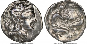 CALABRIA. Tarentum. Ca. 380-280 BC. AR diobol (11mm, 2h). NGC XF. Ca. 325-280 BC. Head of Athena right, wearing crested Attic helmet decorated with fi...