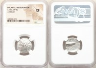 LUCANIA. Metapontum. Ca. 330-280 BC. AR stater (20mm, 3h). NGC XF. Dori- and Da-, magistrates. Head of Demeter left, wreathed with grain; ΔΩPI below c...
