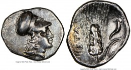 LUCANIA. Metapontum. Ca. 325-275 BC. AR diobol (13mm, 7h). NGC XF, brushed. Head of Athena right, wearing Corinthian helmet pushed back on head / META...