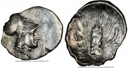 LUCANIA. Metapontum. Ca. 325-275 BC. AR diobol (14mm, 8h). NGC Choice VF, brushed. Head of Athena right, wearing Corinthian helmet pushed back on head...