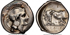 LUCANIA. Velia. Ca. 340-300 BC. AR didrachm or nomos (23mm, 11h). NGC Choice Fine. 5th Period, Theta group, ca. 340-334 BC. Head of Athena right, wear...