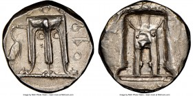 BRUTTIUM. Croton. Ca. 480-430 BC. AR stater (21mm, 12h). NGC Choice XF, brushed. ϘPO (P retrograde), tripod with leonine feet, heron standing right to...