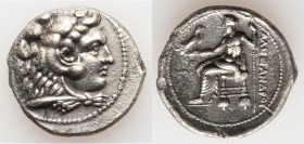 MACEDONIAN KINGDOM. Alexander III the Great (336-323 BC). AR tetradrachm (28mm, 16.48 gm, 6h). XF, edge chips. Early posthumous issue of Tyre, dated R...