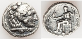 MACEDONIAN KINGDOM. Alexander III the Great (336-323 BC). AR tetradrachm (27mm, 16.42 gm, 12h). VF. Lifetime issue of Tyre, dated Regnal Year 24 of Az...